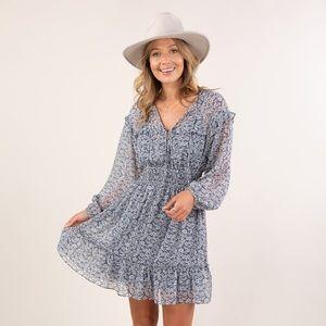 Love Stitch Sheer Ditsy Floral Print Mini Dress